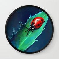 ladybug Wall Clocks featuring Ladybug by Freeminds