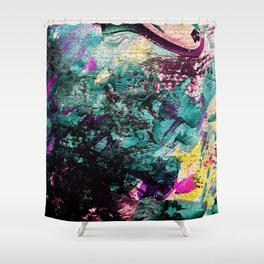Textured Graffiti Print Shower Curtain