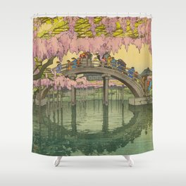 Kameido Bridge Hiroshi Yoshida Vintage Japanese Woodblock Print Shower Curtain