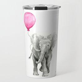 Baby Elephant with Pink Balloon Travel Mug