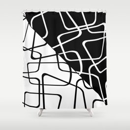 Mid Century Reflections - Black and white abstract Shower Curtain