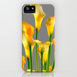 DECORATIVE GOLDEN CALLA LILY FLOWERS ON GREY ART iPhone Case