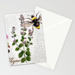 Cottage Style Thyme, Bumble Bee, Hummingbird, Herbal Botanical Illustration Stationery Cards