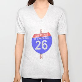 Interstate highway 26 road sign in North Carolina Unisex V-Neck