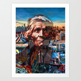 Ghost Tribe Native Americans in New York Red Art Print