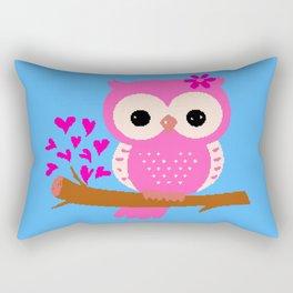 Pink Owl On A Branch   8 Bit Pixel Art Rectangular Pillow