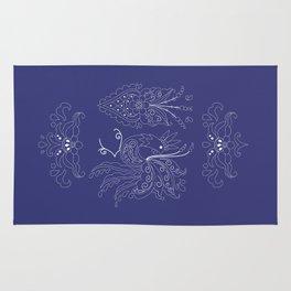 Folklore Rooster - Swedish Folk Art Rug