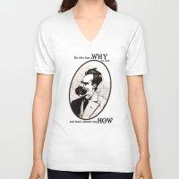 nietzsche V-neck T-shirts featuring Nietzsche by Scott Davidson