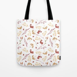 Autumn yellow orange pink red watercolor fall leaves berries Tote Bag