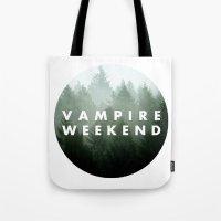 vampire weekend Tote Bags featuring Vampire Weekend trees logo by Van de nacht