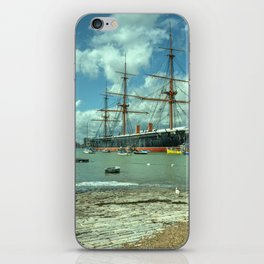 HMS Warrior at Portsmouth Harbour iPhone Skin
