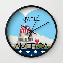 Trump Trumpet Prophetic Political Comic Wall Clock