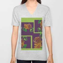 Leaf Painting in Plum and Lime Unisex V-Neck