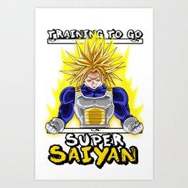 Training to go super saiyan - Trunks Art Print
