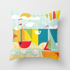 Atomic Mid Century Modern Boats Placement Print Throw Pillow
