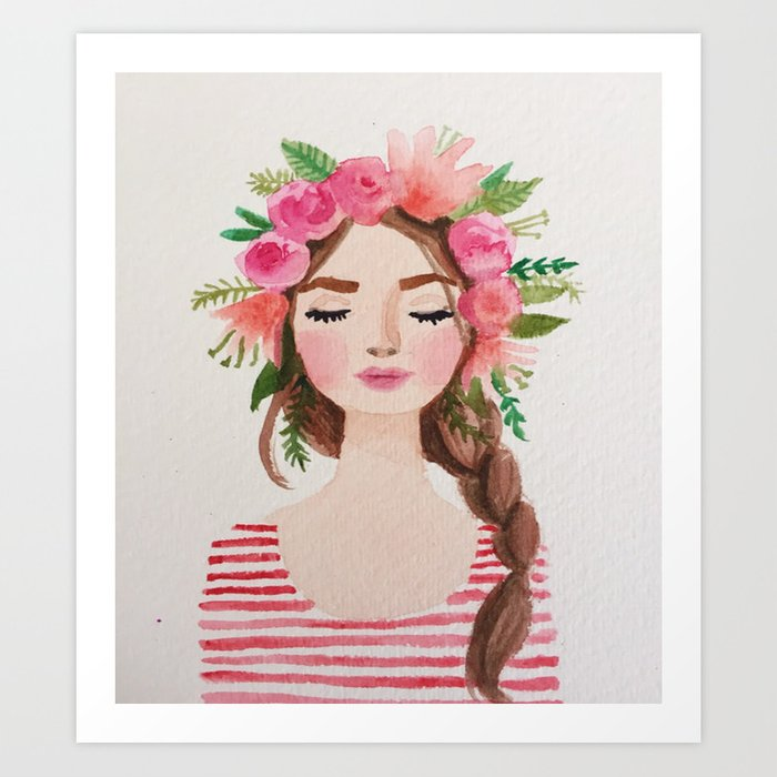 BEAUTIFUL FLOWER CROWN GIRL Art Print by mayalova17  542fe13dfdc