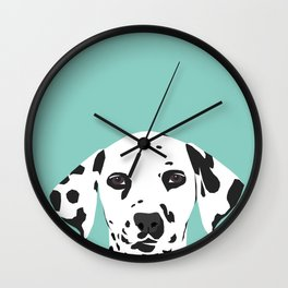 Dalmatian cute puppy dog black and white mint pastel gender neutral pet owner gifts love animals Wall Clock