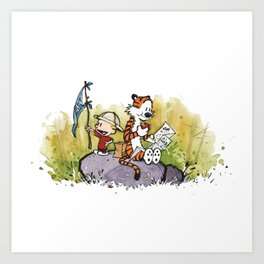 Calvin And Hobbes mapping Art Print