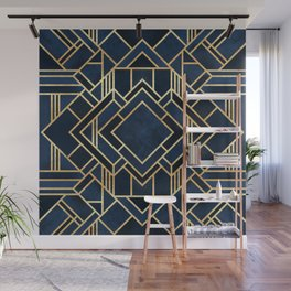 Art Deco Fancy Blue Wall Mural
