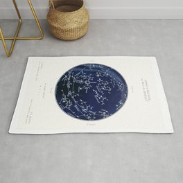 French July Star Maps in Deep Navy & Black, Astronomy, Constellation, Celestial Rug