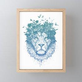 Floral lion Framed Mini Art Print