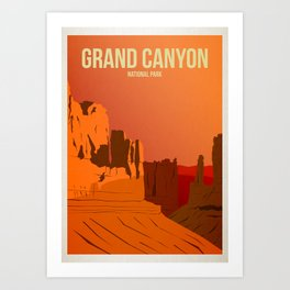 Grand Canyon National Park - Travel Poster -  Minimalist Art Print Art Print