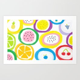 Rock Candy, bold colors hand painted pattern Art Print