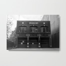 C.F.D. 4 Retired Firehouse Charlotte Black and White Metal Print
