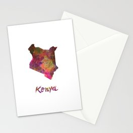 Kenya in watercolor Stationery Cards