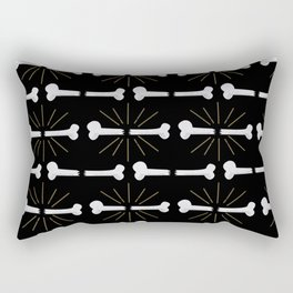 Broken Bones Black Rectangular Pillow