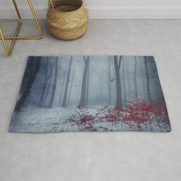 Winter Forest in Red and Blue Rug