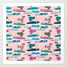 Golden Retriever Surfing - pink surfing, hibiscus, girly,  summer, beach, dog surfing, dog surf, hawaii, hawaiian, summer, cute Art Print