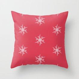 White lace snowflakes on red Throw Pillow