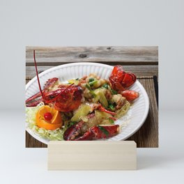 Steamed whole Maine lobster with fresh garnishes Mini Art Print