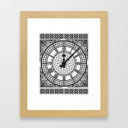 Big Ben, Clock Face, Intricate Vintage Timepiece Watch Framed Art Print