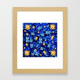 SEPTEMBER BLUE & CHAMPAGNE TOPAZ GEMS BIRTHSTONE ART Framed Art Print
