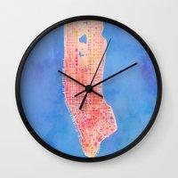 manhattan Wall Clocks featuring Manhattan  by Marta Olga Klara