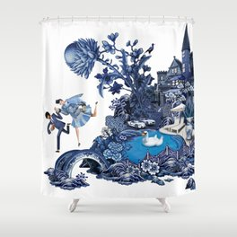 The Lovers Flee Shower Curtain