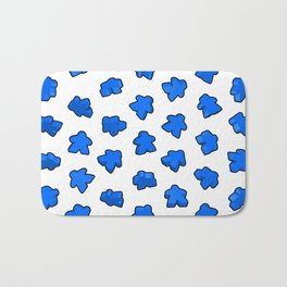 Dark Blue Meeple Mania Pattern Bath Mat