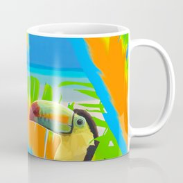 Colorful Toucans Tropical Banana Leaves Pattern Coffee Mug