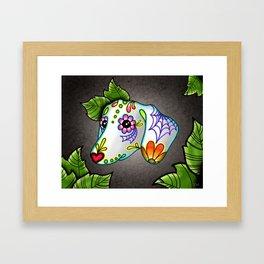 Dachshund - Day of the Dead Sugar Skull Wiener Dog Framed Art Print