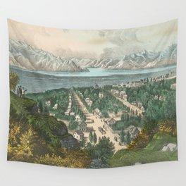 Vintage Pictorial Map of Salt Lake City UT (1870) Wall Tapestry