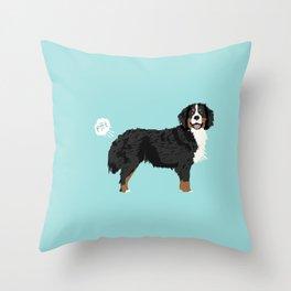 Bernese Mountain Dog dog breed funny dog fart Throw Pillow