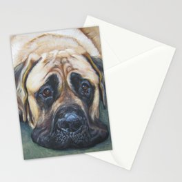 A realistic American Mastiff portrait by L.A.Shepard fine art painting Stationery Cards