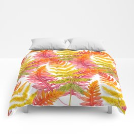 Hand painted pink orange watercolor fall fern floral Comforters