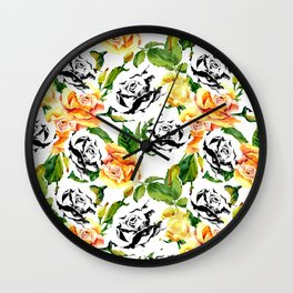 Modern abstract hand painted orange black white roses Wall Clock