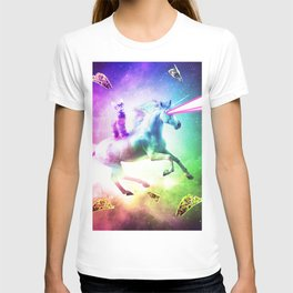 Space Cat Riding Unicorn - Laser, Tacos And Rainbow T-shirt
