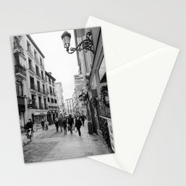 Morning Street Scene in Madrid BW Stationery Cards