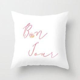 Bonjour Hello French Art Print Flower Home Decor Calligraphy Watercolour Pink Throw Pillow