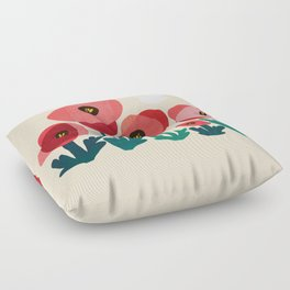 Poppy flowers and bird Floor Pillow